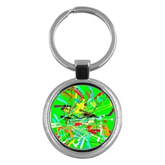 Colorful Painting On A Green Background              Key Chain (round) by LalyLauraFLM
