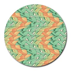 Emerald And Salmon Pattern Round Mousepads by linceazul