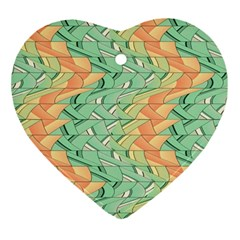 Emerald And Salmon Pattern Ornament (heart) by linceazul