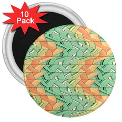Emerald And Salmon Pattern 3  Magnets (10 Pack)  by linceazul