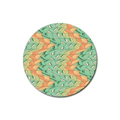 Emerald And Salmon Pattern Rubber Round Coaster (4 Pack)  by linceazul