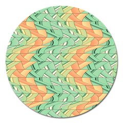 Emerald And Salmon Pattern Magnet 5  (round) by linceazul