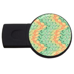 Emerald And Salmon Pattern Usb Flash Drive Round (2 Gb) by linceazul