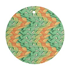 Emerald And Salmon Pattern Round Ornament (two Sides) by linceazul