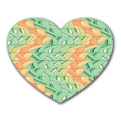 Emerald And Salmon Pattern Heart Mousepads by linceazul