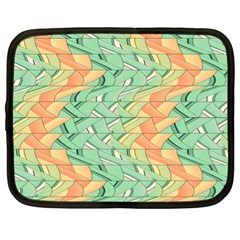 Emerald And Salmon Pattern Netbook Case (xl)  by linceazul