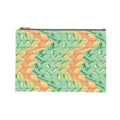 Emerald And Salmon Pattern Cosmetic Bag (large)  by linceazul