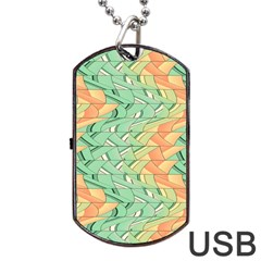 Emerald And Salmon Pattern Dog Tag Usb Flash (two Sides) by linceazul