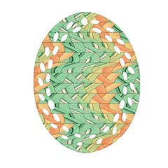 Emerald And Salmon Pattern Ornament (oval Filigree) by linceazul