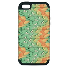 Emerald And Salmon Pattern Apple Iphone 5 Hardshell Case (pc+silicone) by linceazul