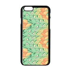 Emerald And Salmon Pattern Apple Iphone 6/6s Black Enamel Case by linceazul