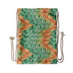 Emerald And Salmon Pattern Drawstring Bag (small) by linceazul