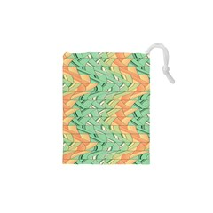 Emerald And Salmon Pattern Drawstring Pouches (xs)  by linceazul