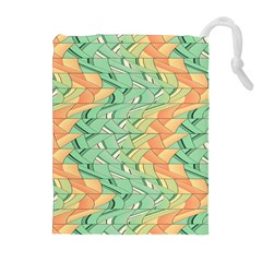 Emerald And Salmon Pattern Drawstring Pouches (extra Large) by linceazul