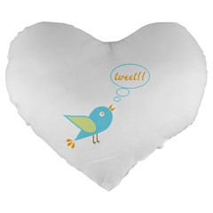 Cute Tweet Large 19  Premium Flano Heart Shape Cushions by linceazul