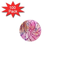 Watercolor Cute Dreamcatcher With Feathers Background 1  Mini Magnets (100 Pack)  by TastefulDesigns