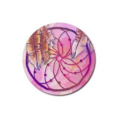 Watercolor Cute Dreamcatcher With Feathers Background Rubber Coaster (round)  by TastefulDesigns