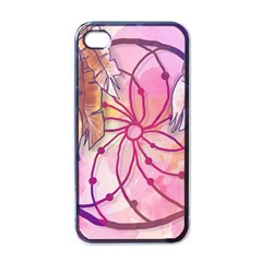 Watercolor Cute Dreamcatcher With Feathers Background Apple Iphone 4 Case (black) by TastefulDesigns