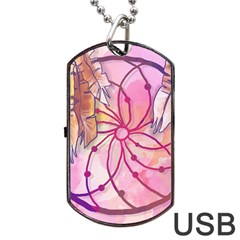 Watercolor Cute Dreamcatcher With Feathers Background Dog Tag Usb Flash (two Sides) by TastefulDesigns