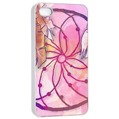 Watercolor Cute Dreamcatcher With Feathers Background Apple Iphone 4/4s Seamless Case (white) by TastefulDesigns