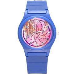 Watercolor Cute Dreamcatcher With Feathers Background Round Plastic Sport Watch (s) by TastefulDesigns