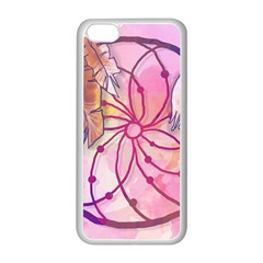 Watercolor Cute Dreamcatcher With Feathers Background Apple Iphone 5c Seamless Case (white) by TastefulDesigns