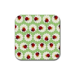 Ladybugs Pattern Rubber Square Coaster (4 Pack)  by linceazul