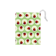 Ladybugs Pattern Drawstring Pouches (small)  by linceazul
