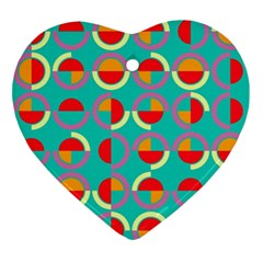 Semicircles And Arcs Pattern Ornament (heart) by linceazul