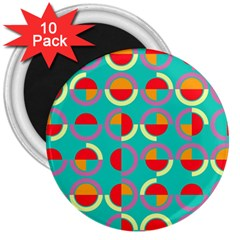Semicircles And Arcs Pattern 3  Magnets (10 Pack)  by linceazul