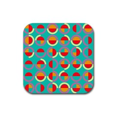 Semicircles And Arcs Pattern Rubber Coaster (square)  by linceazul