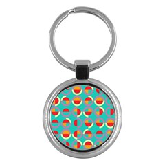 Semicircles And Arcs Pattern Key Chains (round)  by linceazul