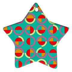 Semicircles And Arcs Pattern Star Ornament (two Sides) by linceazul