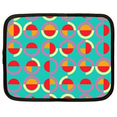 Semicircles And Arcs Pattern Netbook Case (xl)  by linceazul