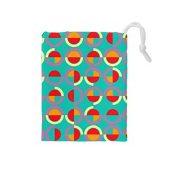 Semicircles And Arcs Pattern Drawstring Pouches (medium)  by linceazul