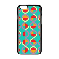 Semicircles And Arcs Pattern Apple Iphone 6/6s Black Enamel Case by linceazul