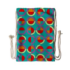 Semicircles And Arcs Pattern Drawstring Bag (small) by linceazul