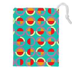 Semicircles And Arcs Pattern Drawstring Pouches (xxl) by linceazul