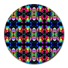 Colorful Bright Seamless Flower Pattern Round Mousepads by Costasonlineshop