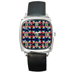 Colorful Bright Seamless Flower Pattern Square Metal Watch by Costasonlineshop