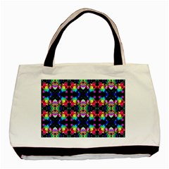 Colorful Bright Seamless Flower Pattern Basic Tote Bag by Costasonlineshop