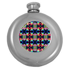 Colorful Bright Seamless Flower Pattern Round Hip Flask (5 Oz) by Costasonlineshop