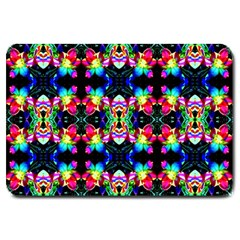 Colorful Bright Seamless Flower Pattern Large Doormat  by Costasonlineshop