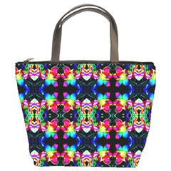 Colorful Bright Seamless Flower Pattern Bucket Bags by Costasonlineshop