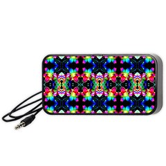 Colorful Bright Seamless Flower Pattern Portable Speaker (black) by Costasonlineshop