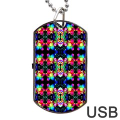 Colorful Bright Seamless Flower Pattern Dog Tag Usb Flash (two Sides) by Costasonlineshop