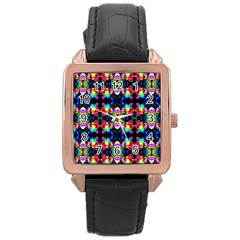 Colorful Bright Seamless Flower Pattern Rose Gold Leather Watch  by Costasonlineshop
