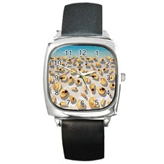 Shell Pattern Square Metal Watch by Valentinaart