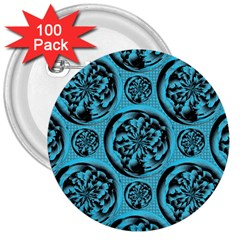 Turquoise Pattern 3  Buttons (100 Pack)  by linceazul