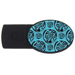 Turquoise Pattern Usb Flash Drive Oval (4 Gb) by linceazul